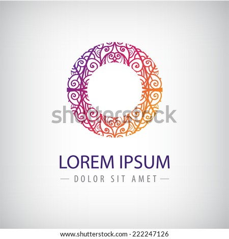 vector abstract colorful lace floral line ornamental round icon, logo isolated - stock vector