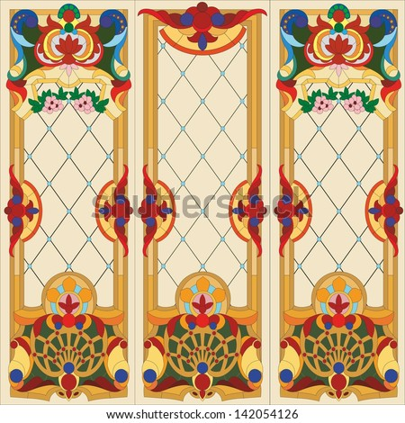Vector abstract colorful stained glass window in the door and window - stock vector