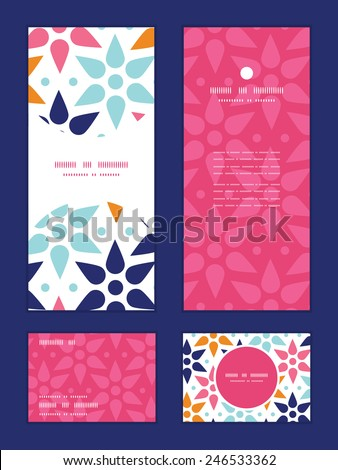 Vector abstract colorful stars vertical frame pattern invitation greeting, RSVP and thank you cards set - stock vector