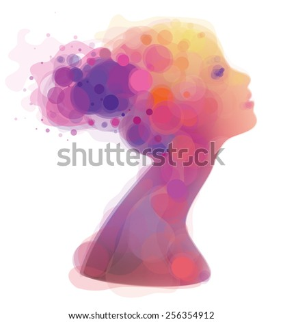 Vector abstract colorful woman portrait. - stock vector