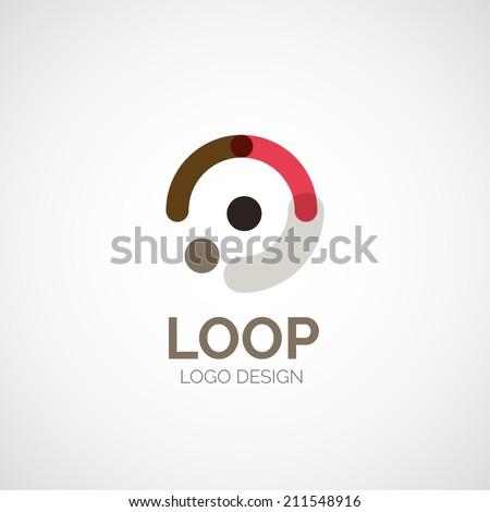 Vector abstract company logo design, business symbol concept, modern line design - stock vector