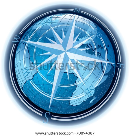 vector abstract composition with globe and wind-rose - stock vector