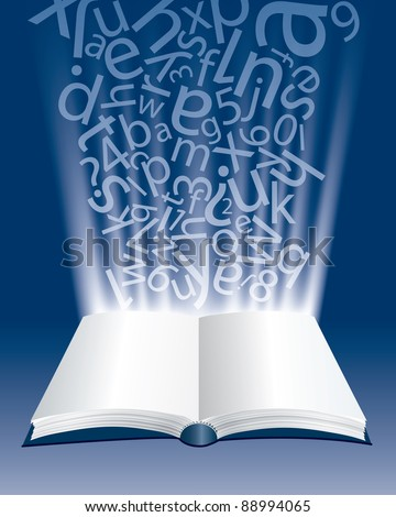 vector abstract composition with open book and letters
