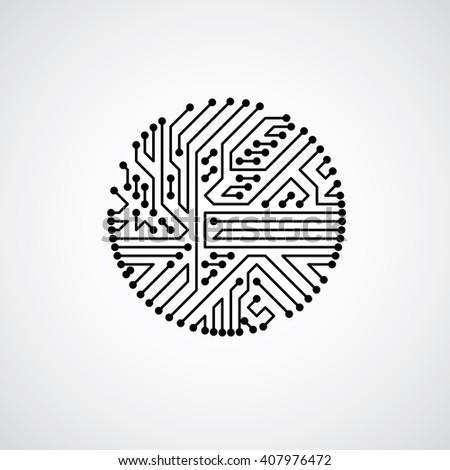 Vector abstract computer circuit board illustration, monochrome round technology element with connections. Electronics theme web design. - stock vector