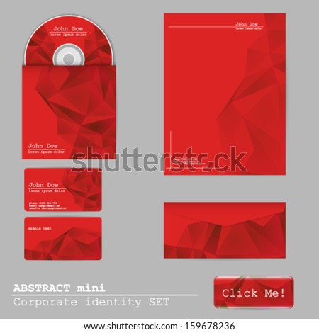 Vector abstract Corporate identity set, business card, disk cover, envelope, web button and letterhead design - stock vector