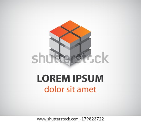 vector abstract cube blocks construction icon, logo, identity - stock vector