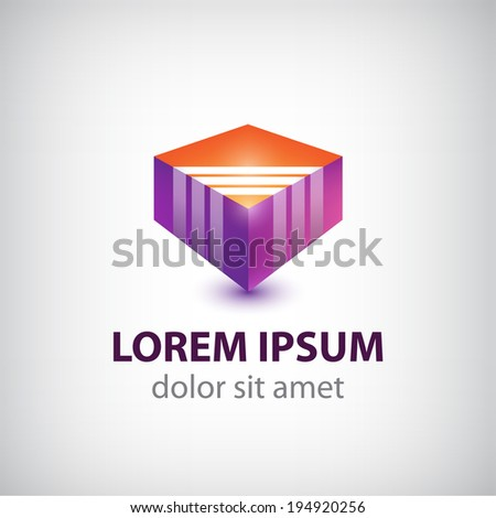 vector abstract cube colorful icon, logo for the company isolated - stock vector