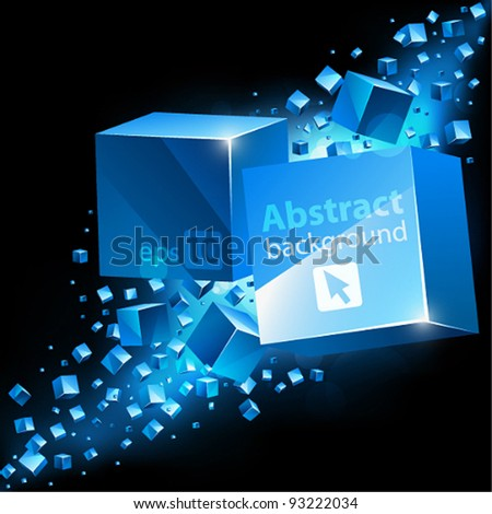 Vector abstract 3D background with cubes and place for text. - stock vector