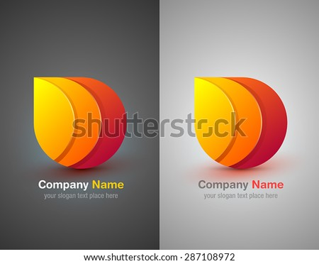 Vector abstract 3d drop design elements. Origami. Corporate identity logo icon. - stock vector
