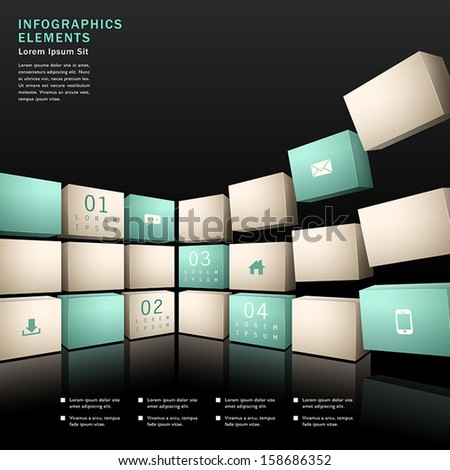 vector abstract 3d wall infographic elements - stock vector
