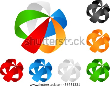 Vector Abstract Design Element. with different color versions - stock vector