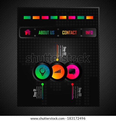 Vector abstract design for your web presentation with colored infographics circles element