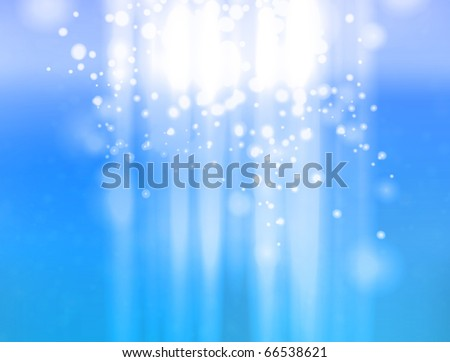 Vector abstract design of light shining from heavens on blue sky background with slight texture. - stock vector