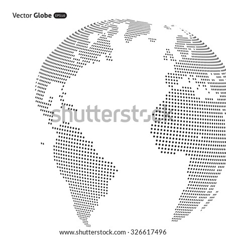 Vector abstract dotted globe, Central heating view on Atlantic ocean region - stock vector