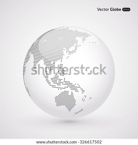 Vector abstract dotted globe, Central heating view on Australia and New Zealand - stock vector