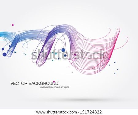 Vector abstract dynamic colorful curly wave background