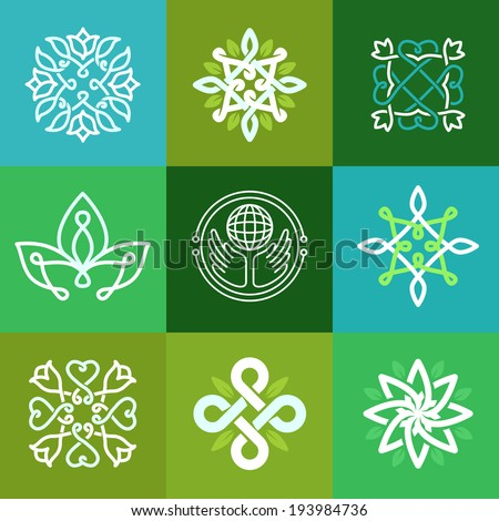 Vector abstract ecology symbols - outline emblems and green signs - logo design templates - stock vector