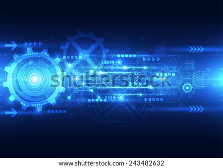 vector abstract engineering future technology, electric telecom background - stock vector