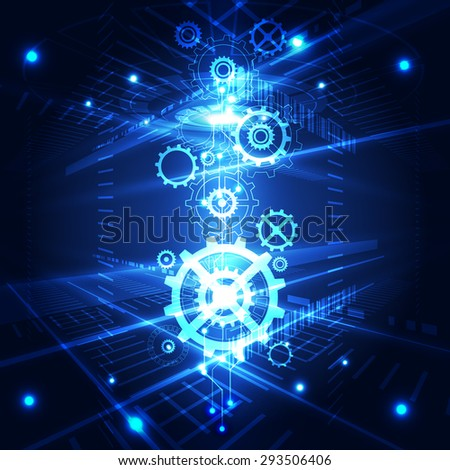 vector abstract engineering future technology, illustration background - stock vector