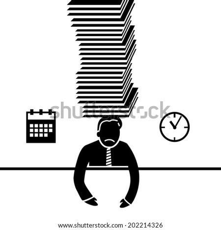 vector abstract flat design businessman icon under pressure because of deadline black pictogram separated on white background - stock vector