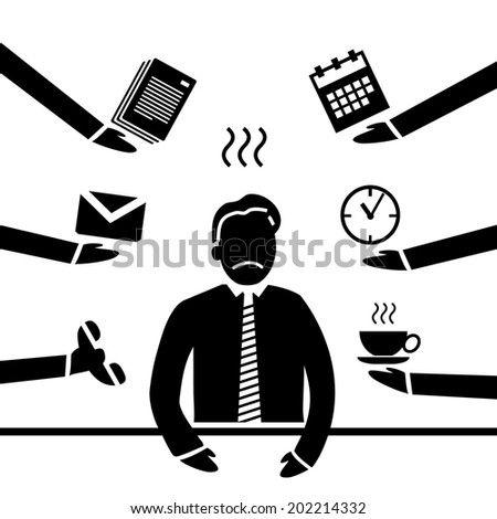 vector abstract flat design stressed and depressed businessman in his office icon black separated on white background - stock vector
