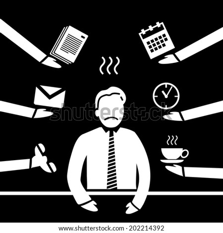vector abstract flat design stressed and depressed businessman in his office icon white separated on black background - stock vector