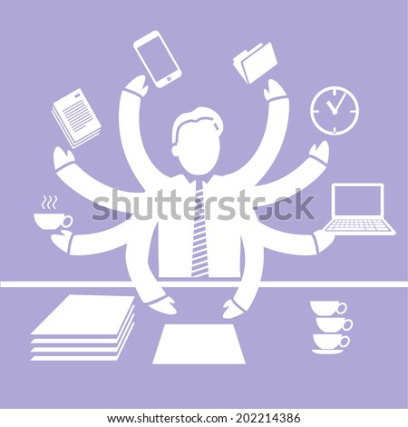 vector abstract flat design worcaholism business icon white separated on purple background - stock vector