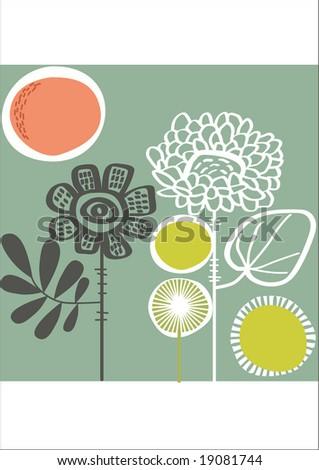 vector - abstract floral card - stock vector