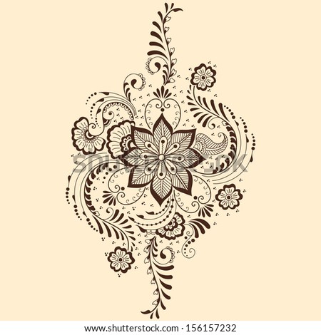 vector abstract floral elements indian mehndi stock vector 156157232 shutterstock. Black Bedroom Furniture Sets. Home Design Ideas