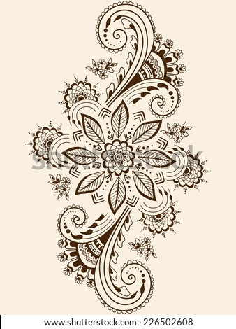 vector abstract floral elements indian mehndi stock vector 226502608 shutterstock. Black Bedroom Furniture Sets. Home Design Ideas