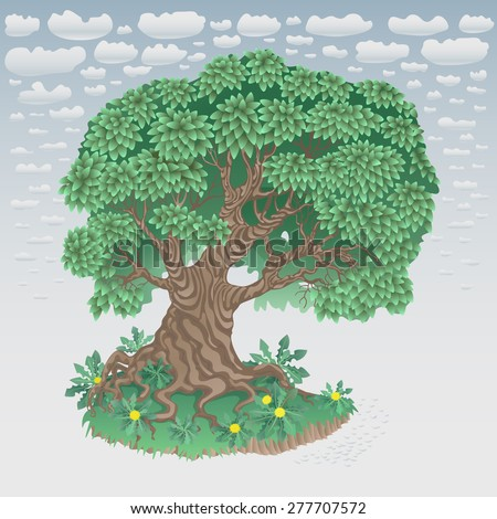 Vector abstract floral illustration in retro cartoon style. Big tree with dense foliage, bright yellow blooming dandelion, green grass on the bank of a small river against the blue sky with clouds - stock vector