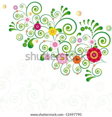 Vector Abstract flowers background with place for your text.