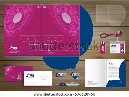 Vector abstract Folder Stationery presentation corporate identity template design, business Color promotional souvenirs elements. link digital technology set, blue, red, Purple, Pink