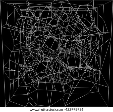 Vector abstract fractal black  background - stock vector