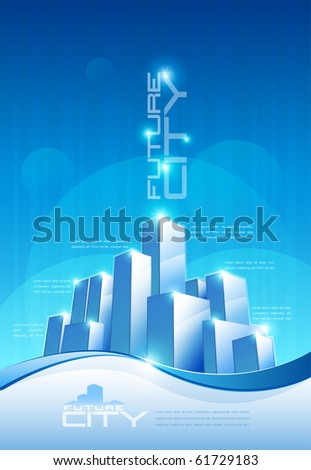 vector abstract future city scene with copy space. Elements are layered separately in vector file. EPS10 file.