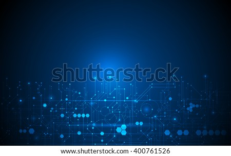 Vector Abstract futuristic circuit board, Illustration high computer technology dark blue color background. Hi-tech digital technology concept - stock vector
