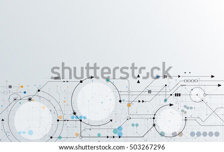 Vector Abstract futuristic circuit board, Illustration high computer technology over light gray color background. Hi-tech digital technology concept