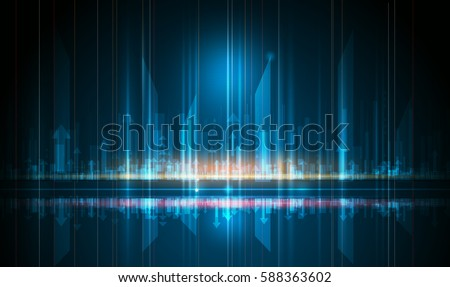 Vector abstract futuristic, energy technology and cityscape concept. Image of arrow sign, light rays, stripes lines with blue light. Speed movement pattern and motion blur over dark blue background