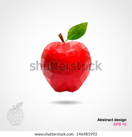 Vector abstract geometric apple. Origami style with a geometric grid. Illustration. EPS 10 - stock vector