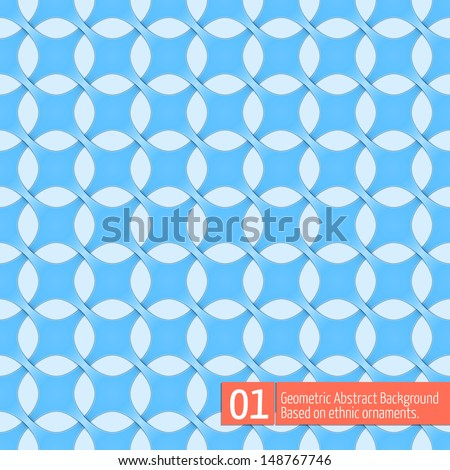 Vector abstract geometric background. Based on ethnic ornaments. Intertwined paper stripes. Elegant background for cards, invitations etc. #01