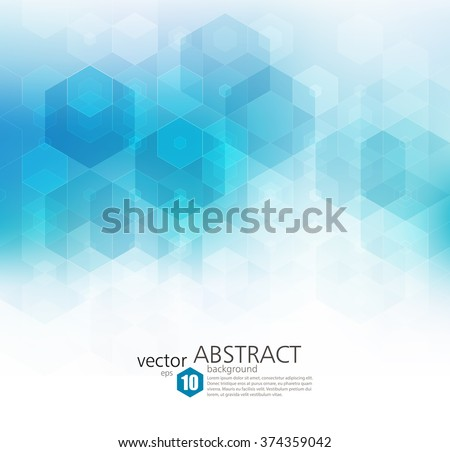 Vector Abstract geometric background. Template brochure design. Blue hexagon shape - stock vector