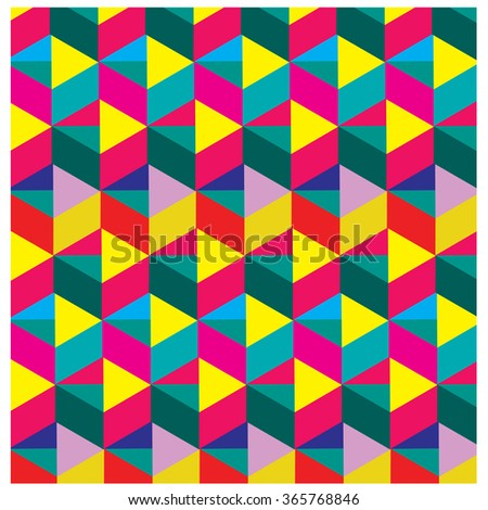 Vector abstract geometric cube angular colorful pattern