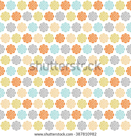 Vector abstract geometric flowers seamless pattern. Retro  multicolor floral print. - stock vector