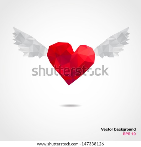 Vector abstract geometric heart with wings. Origami style with a geometric grid. Illustration. EPS 10 - stock vector