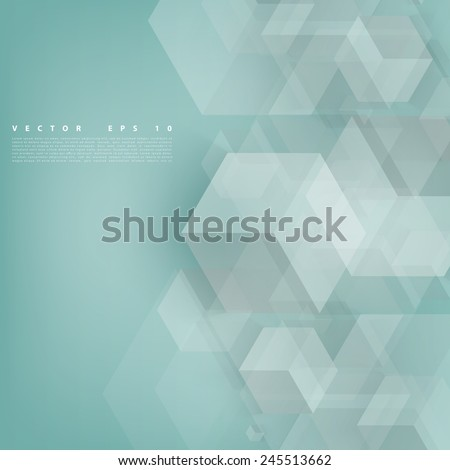 Vector Abstract geometric shape from gray cubes. Turquoise squares - stock vector