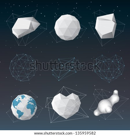 Vector abstract geometrical shape set - stock vector