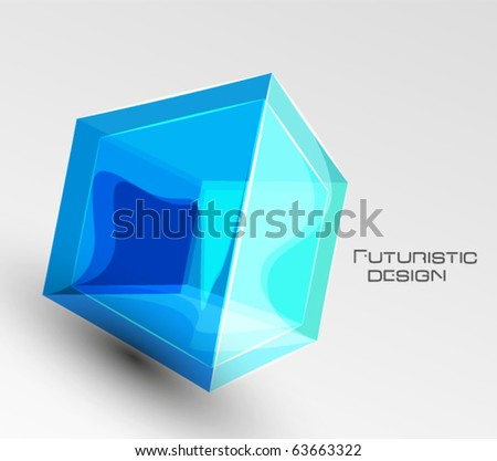Vector abstract glass cube background - stock vector