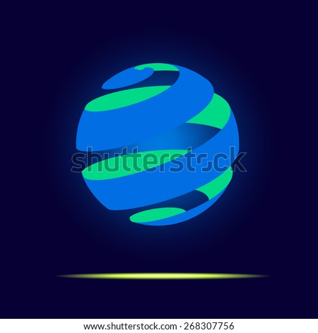 Vector : Abstract globe logo in ribbon style  floating in dark blue background,Business Logo or use for business icon