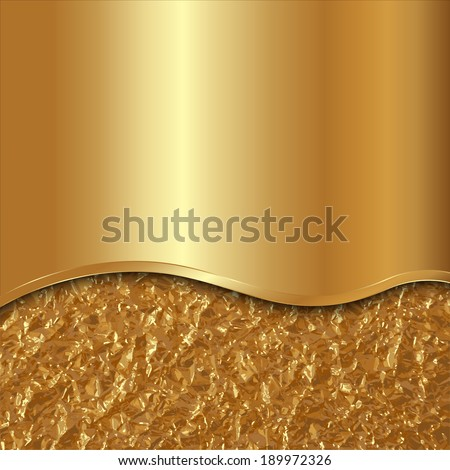 Vector abstract gold background with curve and foil - stock vector