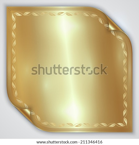 Vector abstract golden metallic rolled foil sheet - stock vector